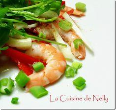 Salade de Crevettes au Fenouil et Poivron rouge Entrees, Shrimp, Meat, Chicken, Food, Fennel, Bell Pepper, Salad, Recipe