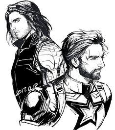 The Winter Soldier & Captain America ~ Bucky & Steve Marvel Dc, Marvel Heroes, Steve Rogers Bucky Barnes, Bucky And Steve, Stucky, Chris Evans, Soldier Drawing, Captain America And Bucky, Captain America Drawing