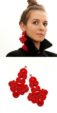 Red chandelier earrings, soutache jewellery. Red beading earrings large, unique. Statement earrings red soutache. Red gypsy earrings.