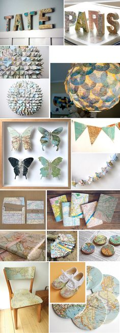 Upcycling maps into decorations, lamps, envelopes, wrapping paper, luggage tags, chairs etc. Sadly (for me), the blog post is in Spanish, but it has links to all the originals (some in English)