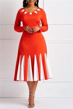 Patchwork Long Sleeve Color Block Women's Long Sleeve Dress