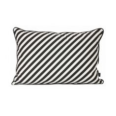 Ferm Living Black Stripe Cushion (4.720 RUB) ❤ liked on Polyvore featuring home, home decor, throw pillows, black white throw pillows, black and white home decor, black and white throw pillows, black home decor and black toss pillows