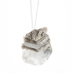 Silver plated quartz pendant