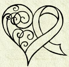 Awareness ribbon with heart, tattoo idea. My ribbon would be white/pearl for Lung Cancer.