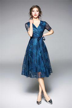 Shop Blue Embroidery V-neck A-line Dress at EZPOPSY. Women's Dresses, Satin Dresses, Vintage Dresses, Blue Dresses, Casual Dresses, Formal Dresses, Chiffon, Mother Of Groom Dresses, Resort Dresses