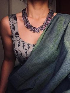 Curated online store for apparel and accessories. Saree Blouse Neck Designs, Saree Blouse Patterns, Trendy Sarees, Stylish Sarees, Indian Attire, Indian Outfits, Saree Jackets, Saree Jewellery, Modern Saree