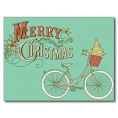 Green Vintage Merry Christmas Bicycle Postcards - sold, thanks to the customer in MO