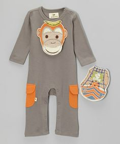 Take a look at this Gray Monkey & Pirate Ship Organic Playsuit & Bib Set  - Infant by Pickle Peas on #zulily today!
