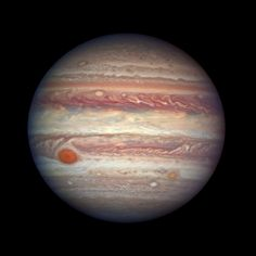 planet with red and cream bands and red spot bottom left