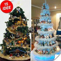 Un villaggio nel tuo albero di Natale!15 esempi stupendi... Un villaggio nel tuo albero di Natale - Idee n° 5-9 Date un'occhiata a questi spettacolari alberi di Natale dove sono stati creati dei piccoli villaggi che faranno sognare i piccoli e non solo...