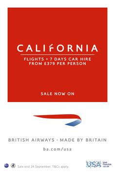 Sale ends tomorrow. California, flights + 7 days car hire from per person. T&C's apply. Birthday Drip Cake, Birthday Gifts, Letterhead Design, Logo Design, Photo Editing Vsco, Holiday Hotel, 24 September, San Fernando Valley, British Airways