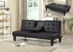 Description: Futon with fold-down cup holder Color: Brown or Black Material: Faux Leather Condition: New. Measurements: 32.7 inches high x 72 inches wide x 33.5 inches deep Manufacturer SKU: 2026/27 *