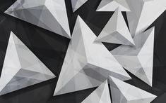 Download wallpapers triangles, 4k, 3d art, geometry, geometric shapes, gray background
