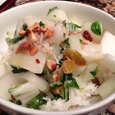 Coconut Jasmine Rice with Bok Choy, Golden Raisins, and Cashews by @Leanne @ Around the Table