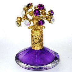 Vintage Irice Perfume Bottle Jeweled Rhinestone Atomizer Germany Purple Amethyst <3