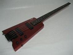 Electric Bass Guitar, 4 String, Fret, Headless, Red