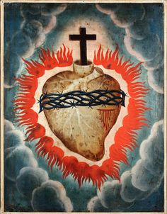 The Sacred Heart is one of the most well-known Roman Catholic devotions. Jesus Christ's physical heart with a cross on top represents his divine love for humanity. Spiritual Images, Religious Images, Religious Art, Spiritual Life, Vintage Holy Cards, Jesus Christ Images, Baroque Art, Heart Of Jesus, Fire Heart