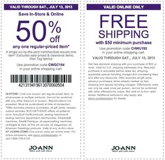 Pinned July 7th: 50% off a single item at Jo-Ann Fabric, or online via promo code CWGC194 coupon via The Coupons App
