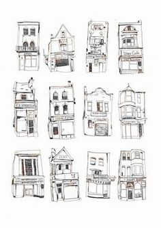Shop fronts doodles illustrations by Melody Seal Building Illustration, Illustration Art, Illustrations, Large Prints, Fine Art Prints, Drawn Art, House Drawing, House Sketch, City Sketch
