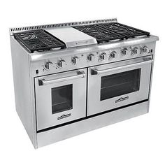 Thor Kitchen 48-inch Stainless Steel (Silver) Professional Gas Range with 6 burners and Griddle (48-inch Gas Range)