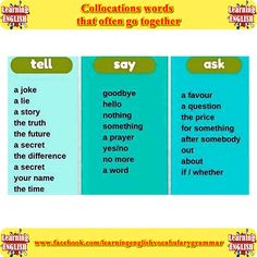 Collocations. Words that often go together