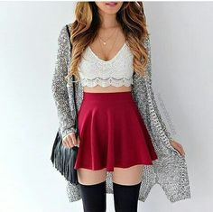 skirt outfit outfit idea summer outfits fall outfits cute outfits spring outfits date outfit party o Date Outfits, Outfits For Teens, Spring Outfits, Trendy Outfits, Fashion Outfits, Casual Teen Fashion, Winter Outfits, Knee High Socks Outfit, High Socks Outfits