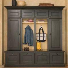 Wall cupboard storage - great for an entry way.
