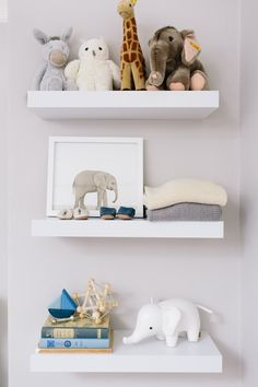 modern floating nursery shelves | neutral natural nursery decor | Nursery | Design by Caitlin Flemming | Photo by Bess Friday