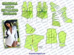CAMISOLA CON NUDO RETORCIDO CRUZADO Origami Patterns, Easy Sewing Patterns, Coat Patterns, Doll Clothes Patterns, Clothing Patterns, Sewing Clothes Women, Diy Clothes, Fashion Sewing, Diy Fashion