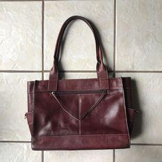 Franklin Covey 2007  Women's Medium Burgundy Leather Handle Tote Handbag Purse  #FranklinCovey #TotesShoppersHandbag