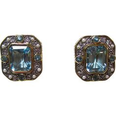 Vintage Estate Blue Topaz & Akoya Cultured Pearl Earrings 18K