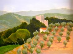 """""""Castellina in Chianti""""  Original Oil/canvas Available through  VISUAL EXPANSION GALLERY  126 N. HIGH STREET  W. CHESTER, PA  610-436-8697  Giclee Print: 24'x18"""" $85.00 Free shipping: 2015 Contact: MB.artwork@verizon.net"""