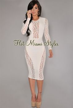Off-White Lace Accent Midi Dress Own it