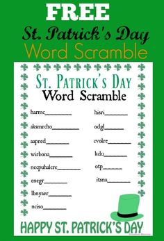 Patrick's Day Word Scramble Printable! Patrick's Day Word Scramble Printable! Patrick's Day Word Scramble Printable! Word Scramble Printable, St Patrick's Day Words, St Patrick's Day Games, St Patricks Day Crafts For Kids, St Patrick Day Activities, St. Patricks Day, St Patrick's Day Decorations, St Paddys Day, Luck Of The Irish