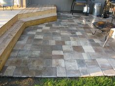 wood deck that steps down to paver patio | patio adjacent to deck ... - Patio Step Ideas