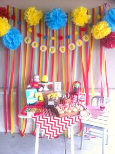 Curious George Party/ dessert table... made me think of banana pudding, individual cups
