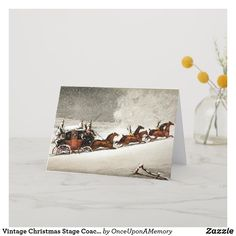 Vintage Christmas Stage Coach Delivering Mail Holiday Card