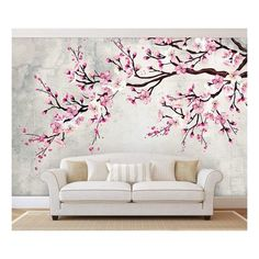 Large Wall Mural - Watercolor Style Ink Painting Pink Cherry Blossom on Vintage Wall Background Grand Art Mural, Large Wall Murals, Mural Art, Large Wall Art, Wall Mural Painting, Cherry Blossom Bedroom, Cherry Blossom Wallpaper, Bedroom Wall Designs, Bedroom Murals
