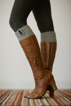 Knitted Boot Cuffs, Faux Leg Warmers, or Boot Toppers with Chunky Knit and Wooden Working Buttons for Women and Teens in Light Gray