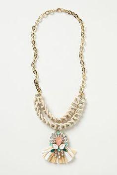 Anthropologie raffia jewel necklace