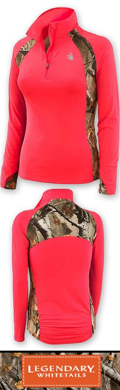 You won't want to take it off! Made from a 4-way stretch performance poly/spandex blend with moisture management finish. Featuring Big Game Camo® accents, thumbhole cuffs, drop tail, and back seam gathers. Finished with a reflective Signature Buck logo for added safety.