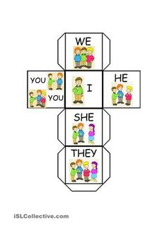This is a dice that you may use in lots of activities. I made it as an optional dice to play with DAILY ROUTINE SNAKES AND LADDERS that I have also uploaded. Students should make a sentence with the pronoun they get and the correct form in the simple present of the verb that appears on the square they landed on. - ESL worksheets