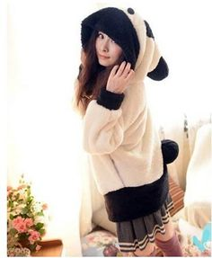 White and Black Oversized Korean Stylish Panda Head Hoodie 1