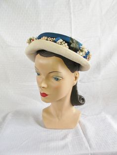 1950s Vintage Blue and White Hat with Flowers by MyVintageHatShop