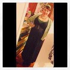 Black maxi dress with green accessories http://www.vintagebridgestyle.com/ Vintage Bridge