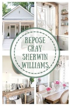 Repose Gray paint will soon become your favorite color for your home. It is one of the most popular Sherwin Williams colors. Repose Gray Paint, Grey Paint, Mindful Gray, Farmhouse Paint Colors, Paint Colors For Home, Maisie Williams, Exterior Gray Paint, Sherwin Williams Gray, Farm House Colors