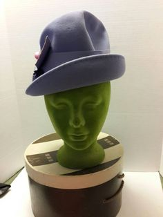 2e78241a9e6 Vintage Marshall Fields Felt Fedora Hat S Purple With Pin  amp  Box  Grossgrain Band