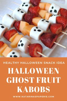 Halloween Ghost Fruit Kabobs is a healthy Halloween treat for your celebration Halloween Desserts, Halloween Fruit, Halloween Snacks For Kids, Halloween Treats For Kids, Halloween Appetizers, Cheap Halloween, Halloween Ghosts, Halloween Meals, Halloween Makeup