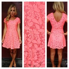 Neon Coral Babydoll Lace Dress   Dainty Hooligan Boutique