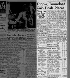 Triopia, Tornadoes Gain Finals Places Feb 1970